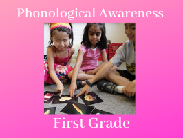 phonological awareness first grade, students playing with image cards