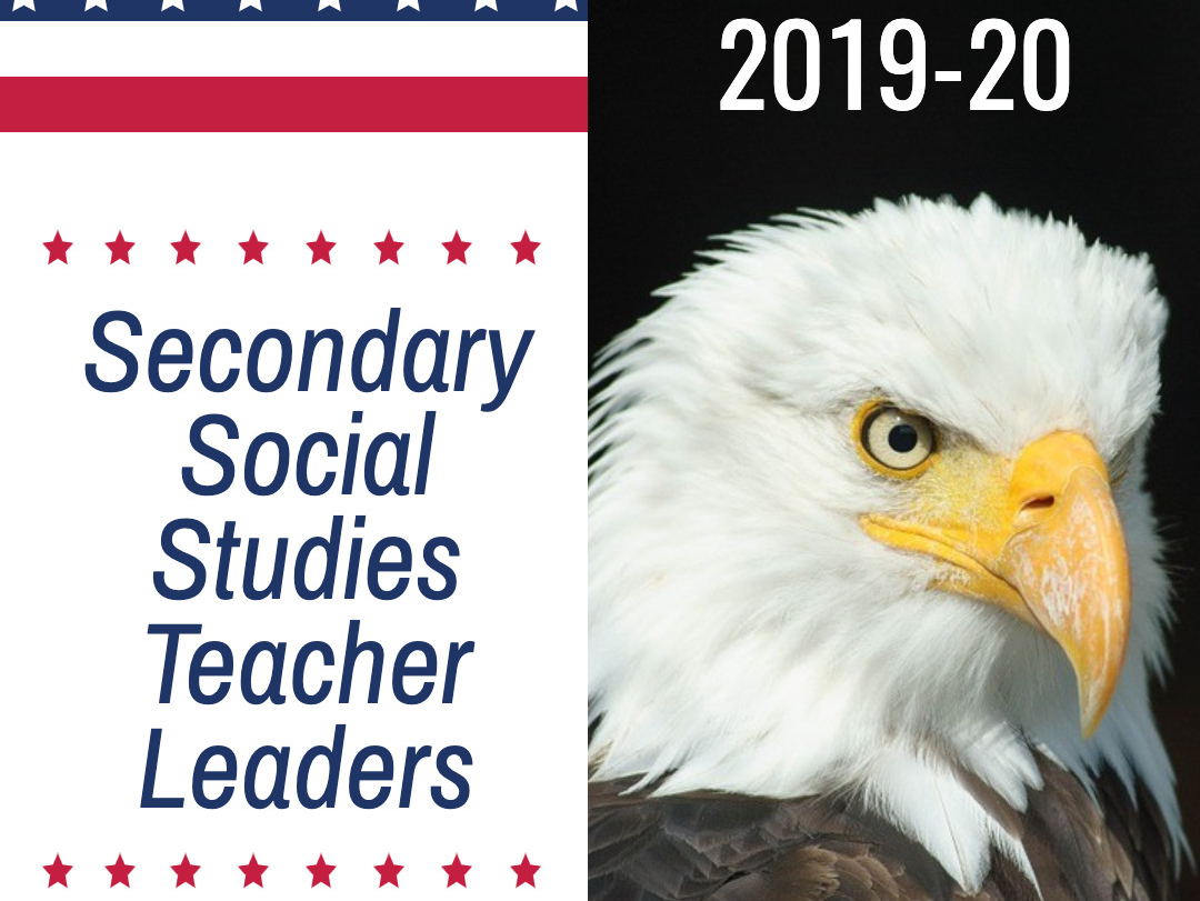 red white and blue with bald eagle, secondary social studies teacher leaders, 2019-20