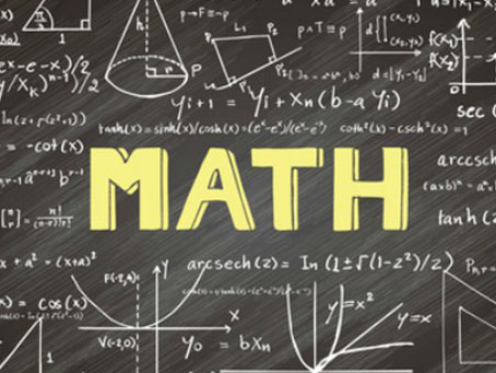 The word Math written on a chalk board with formulas surrounding it.